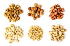 Sechs Arten Walnuss, Haselnuss, Erdnuss, Acajoubaum, Kiefer und Pistazien auf einem weißen Hintergrund Stockbild