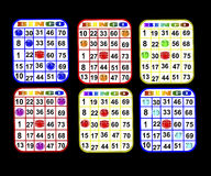 Sechs Bingo-Karten Stockfotos