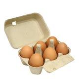 Sechs braune Eier in einem Kartonpaket Stockfoto