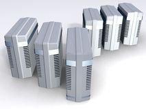 Sechs Computer-Kontrolltürme Stockfotografie