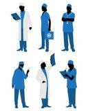 Sechs Doktoren in der Uniform lizenzfreie abbildung