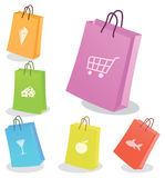 Sechs Einkaufenbeutel. Lizenzfreies Stockfoto