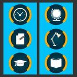 Sechs Einzelteile bezogen auf Bildung Stockbild