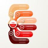 Sechs Elementfahne 6 Schritte Design, Diagramm, infographic Stockfotografie