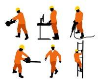 Sechs Erbauerschattenbilder Stockbild