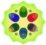 Sechs Farbe-Ostereier stock abbildung