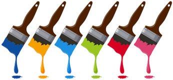 Sechs Farben auf Malerpinseln Lizenzfreies Stockfoto