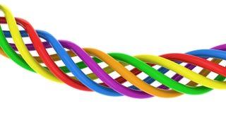 Sechs farbige Drähte Stockfotografie