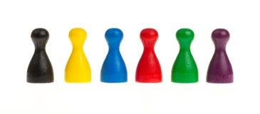 Sechs farbige Pfand Lizenzfreie Stockfotos