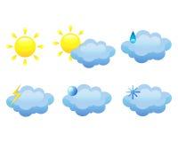 Sechs flache Ikonen des Wetters Stockbild