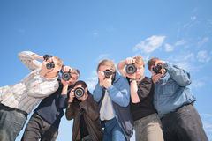 Sechs Fotografen Stockfotos