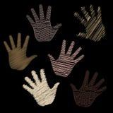 Sechs gekritzelte Hände Stockbilder