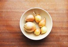 Sechs gelbe Zwiebelköpfe in ein tiefen keramischen Platte bezhegogo Farben auf einem hölzernen Brett Lizenzfreies Stockfoto