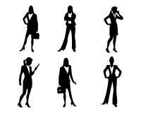 Sechs Geschäftsfrauschattenbilder vektor abbildung