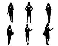 Sechs Geschäftsfrauschattenbilder Stockfoto