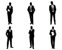 Sechs Geschäftsmannschattenbilder stock abbildung