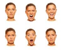 Sechs Gesichter stockbilder