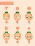 Sechs Gesichtsformen Stockfoto