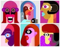 Sechs Gesichtsvektorillustration lizenzfreie abbildung