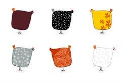 Sechs gesprenkelte Hennen Stockfoto