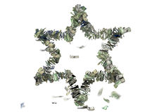 Sechs gezeigter Stern in US-Rechnungen Lizenzfreie Stockfotografie