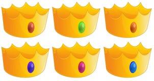 Sechs goldene Kronen Stockfoto