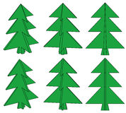 Sechs grüne Bäume Lizenzfreies Stockfoto