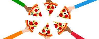 Sechs Hände mit Scheiben der Pizza-Fahne Stockfoto