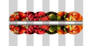 Sechs horizontale widergespiegelte Halbrunde voll von frischen Früchten Lizenzfreie Stockbilder