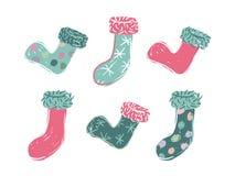 Sechs Karikatur farbiger Weihnachtsstrumpf stockbild