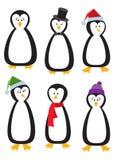 Sechs Karikatur-Pinguine lizenzfreie abbildung