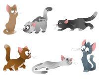 Sechs Katzen eingestellt Lizenzfreie Stockbilder
