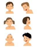 Sechs lächelnde Gesichter stock abbildung