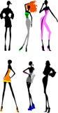 Sechs lange Fahrwerkbein-Mädchen. Stockbilder