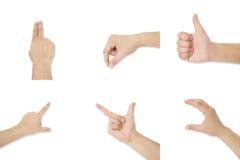 Sechs lokalisierte Hände mit Symbolen stockfotografie