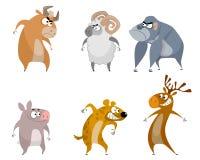 Sechs lustige Tiere Lizenzfreie Stockbilder