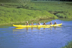 Sechs Männer, die einen Kajak, Kauai, Hawaii rudern lizenzfreies stockfoto