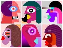 Sechs Personen-Porträtvektorillustration vektor abbildung