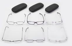 Sechs Rahmen für dioptrical Gläser Plastik oder Metall oder randloses Stockfotos