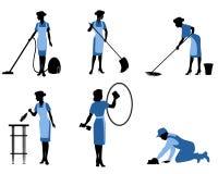 Sechs Reinigungsarbeitskräfte vektor abbildung