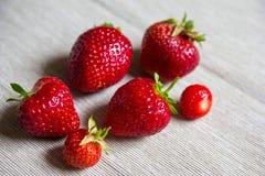 Sechs rote frische Erdbeeren an der Baumwollserviette stockfoto