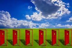 Sechs Rottür gesetzt auf einen Rasen im Freien mit Boden des blauen Himmels lizenzfreie abbildung