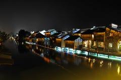 ----- Sechs südliche Stadt Wuzhen-Wasser-Dorfgasse die Nacht Lizenzfreie Stockfotografie