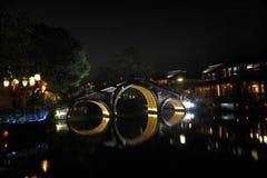 ----- Sechs südliche Stadt Wuzhen-Wasser-Dorfgasse die Nacht Lizenzfreie Stockfotos