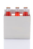 Sechs Satz Erdbeere-Soda-Flaschen Stockfotografie