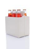 Sechs Satz Erdbeere-Soda-Flaschen Lizenzfreie Stockfotos