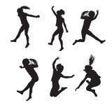 Sechs Schattenbilder des springenden Mädchens Stockfotografie