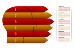 Sechs Schrittzeitachse infographics in der Hauptform mit Pfeilen lizenzfreie stockbilder