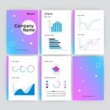 Sechs Seite moderne Jahresberichtschablone des Vektors in der flachen Art Lizenzfreie Stockbilder