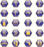 Sechs Seitenikonen lizenzfreie abbildung